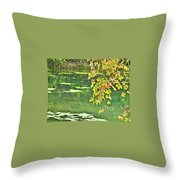 Leaves And Water Throw Pillow