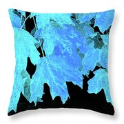 Leaves In Blue Throw Pillow