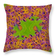 Leaves In Fractal 2 Throw Pillow