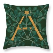 Leaves Letter A Throw Pillow