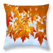 Leaves Nature Art Orange Autumn Tree Leaves Throw Pillow