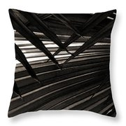 Leaves Of Palm Black And White Throw Pillow