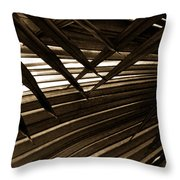 Leaves Of Palm Sepia Throw Pillow