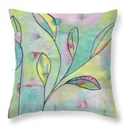 Leaves On Abstract Background Throw Pillow