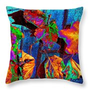 Leaves On Bricks Throw Pillow