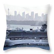 Diamond Princess Leaving Sydney Throw Pillow