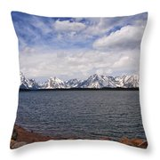 Leaving The Grand Tetons Throw Pillow