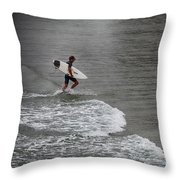 Leaving The Surf Throw Pillow