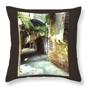 Lebanese Watercolors Jewsish Zone Saida Throw Pillow