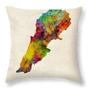 Lebanon Watercolor Map Throw Pillow