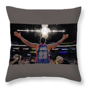 Lebron James Chalk Toss Basketball Art Landscape Painting Throw Pillow