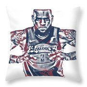 Lebron James Cleveland Cavaliers Pixel Art 54 Throw Pillow