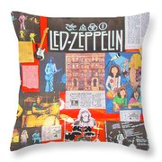 Led Zeppelin Color Collage Throw Pillow