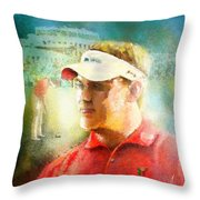 Lee Westwood Winning The Portugal Masters 2009 Throw Pillow