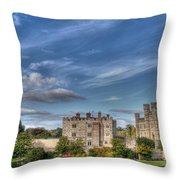 Leeds Castle And Moat Rear View Throw Pillow