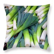 Leeks At The Farmer's Market Throw Pillow