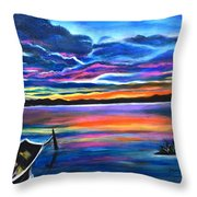 Left Alone A Seascape Boat Painting At Sunset  Throw Pillow