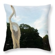 Left Crane Throw Pillow