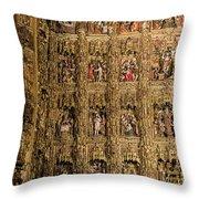 Left Half - The Golden Retablo Mayor - Cathedral Of Seville - Seville Spain Throw Pillow
