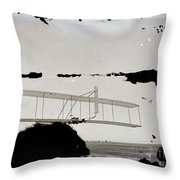 Left View Of Wilbur Gliding Kitty Hawk Lifesaving Station And Weather Bureau Buildings In Distance K Throw Pillow