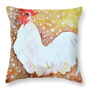 Leghorn Rooster Do The Funky Chicken Throw Pillow