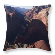 Legs Dangle Over The Cliff Looking Throw Pillow