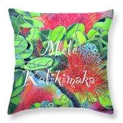Lehua Mele Kalikimaka Throw Pillow