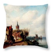 Leickert Charles A Village Along A River A Town In The Distance Throw Pillow