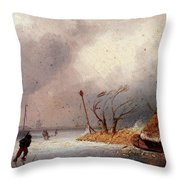 Leickert Charles A Winter Landscape With Skaters On A Frozen Waterway Throw Pillow