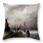 Leickert Charles Henri Joseph Figures On A Frozen Lake Throw Pillow