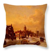 Leickert Charles Henri Joseph Winter And Summer Canal Scenes Scene  Throw Pillow