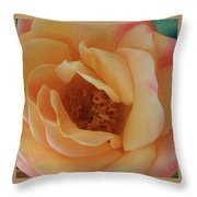 Lemon Blush Rose Throw Pillow