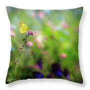 Lemon Butterfly In Summer Meadow  Throw Pillow