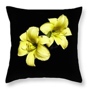 Lemon Lilies Throw Pillow