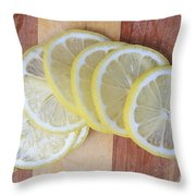 Lemon Slices On Cutting Board Throw Pillow