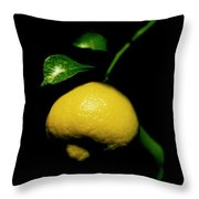 Lemon With Leaves Throw Pillow