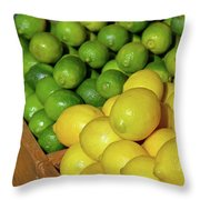 Lemons And Limes At Market Throw Pillow