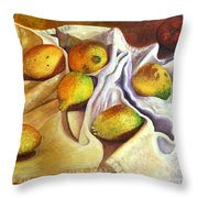 Lemons And Linen Throw Pillow
