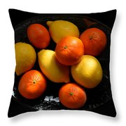 Lemons And Oranges On A Platter Throw Pillow