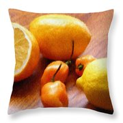 Lemons And Peppers Throw Pillow