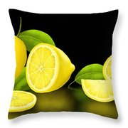 Lemons-black Throw Pillow