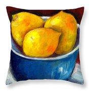 Lemons In A Blue Bowl Grace Venditti Montreal Art Throw Pillow