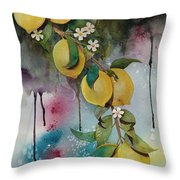 Lemons On Blue Throw Pillow