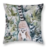 Lemur Catta Throw Pillow