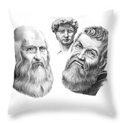 Leonardo And Michelangelo Throw Pillow