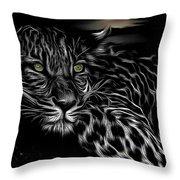 Leopard At Night Throw Pillow