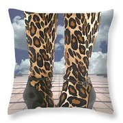 Leopard Boots With Ankle Straps Throw Pillow