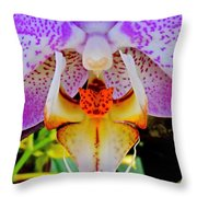 Leopard Dragon Orchid Throw Pillow