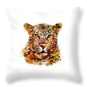Leopard Head Watercolor Throw Pillow