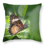 Leopard Lacewing Throw Pillow